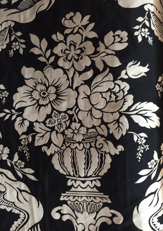 Black And Off White Floral Reversible Floral Upholstery Etsy