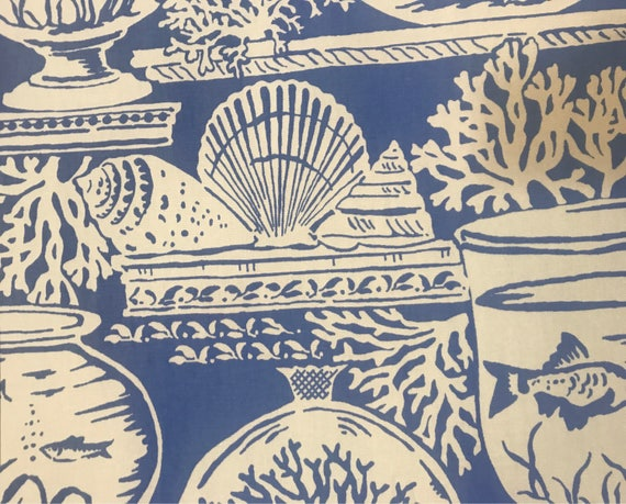 Cobalt Beach House Upholstery Fabric By The Yard Etsy