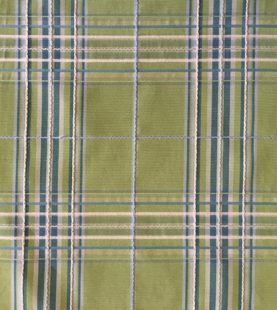 Green Blue Plaid Upholstery Fabric By The Yard Etsy