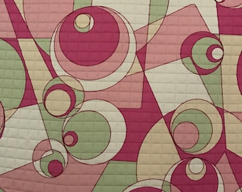 Modern Pink and Green Geometric - Upholstery Fabric By The Yard