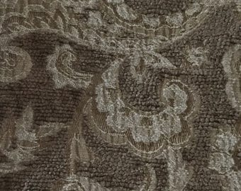 Cream and Brown Damask - Upholstery Fabric by The Yard - Fast Shipping
