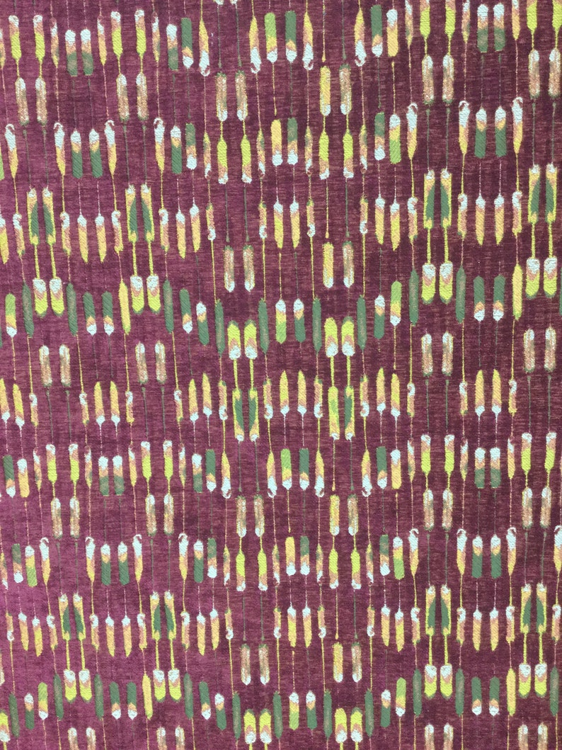 Groovy Burgundy Abstract Stripe Fabric by the Yard