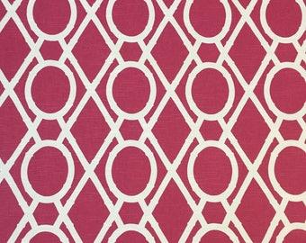 Raspberry Bamboo - Geometric - Upholstery Fabric by The Yard