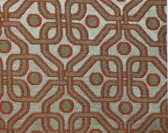 Orange - Metallic Geometric - Upholstery Fabric by the Yard