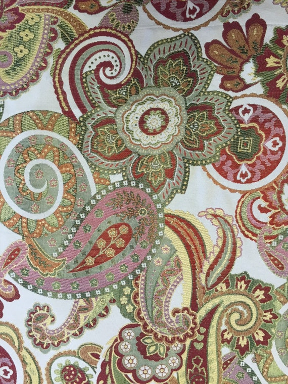 Pink Green Red Blue Paisley Upholstery Fabric By The Yard Etsy