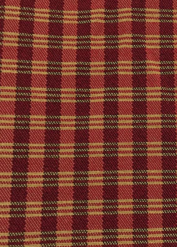Upholstery Fabric By The Yard Gold Black and Red Small Check