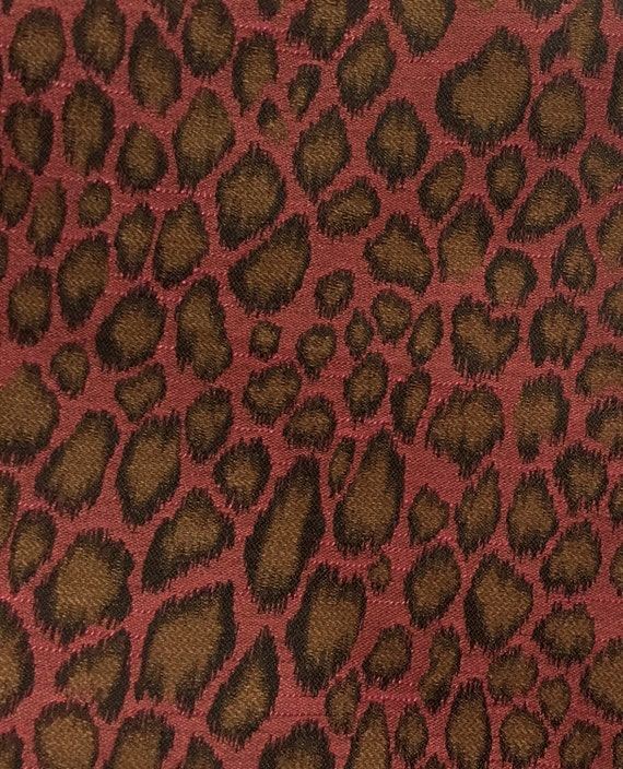 Pink Brown Leopard Animal Print Upholstery Fabric By Etsy