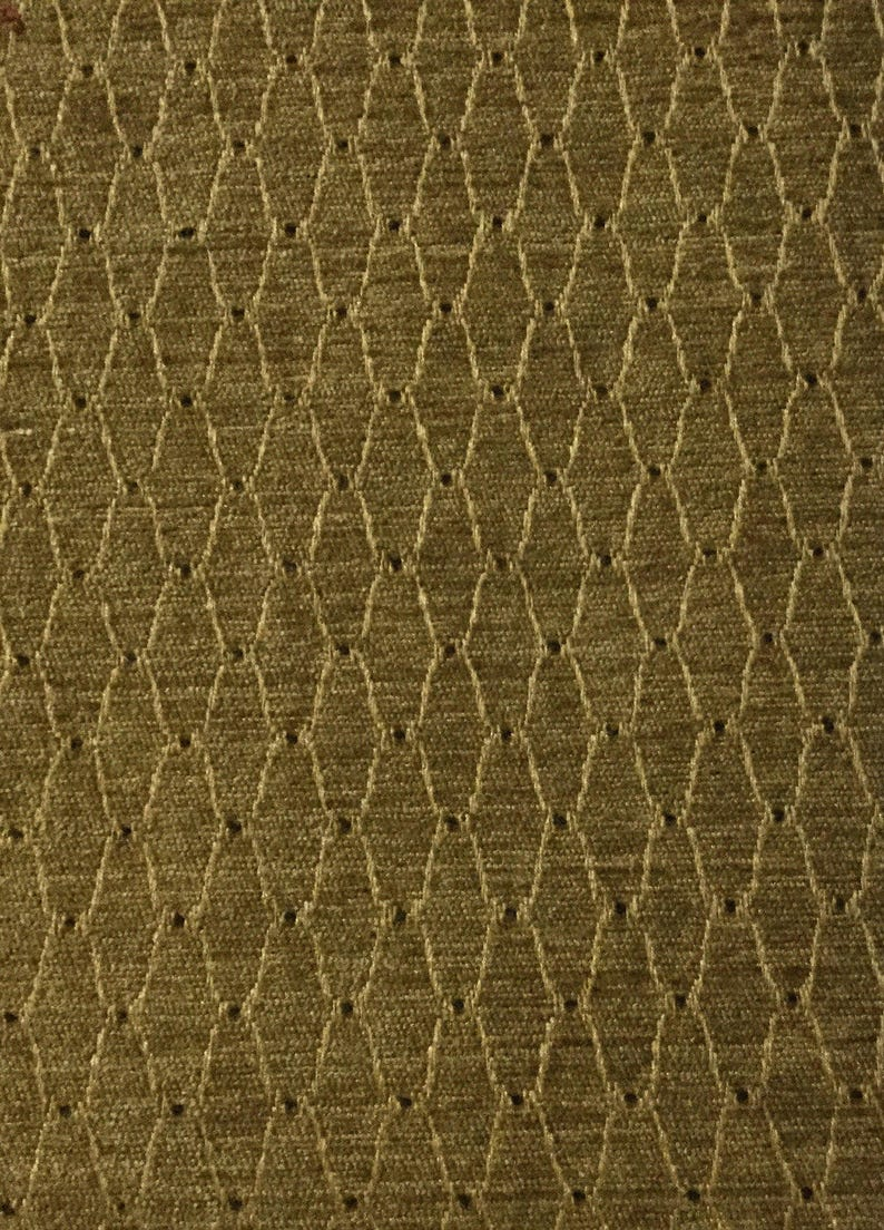 Woven Fabric Gold Trellis Brown Dot Upholstery Fabric by the Yard