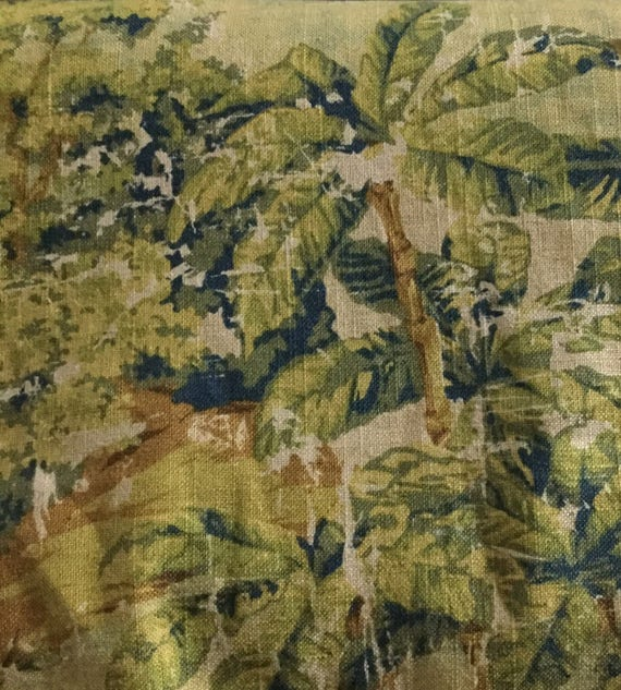 distressed palm toile upholstery fabric by the yard etsy. Black Bedroom Furniture Sets. Home Design Ideas
