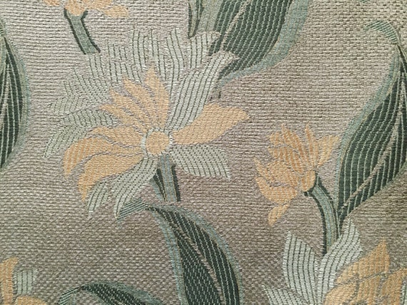 Luxurious Green And Yellow Floral Upholstery Fabric Etsy
