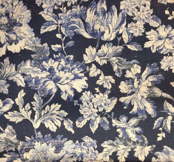 French Country Blues Floral Fabric Upholstery Fabric By The Etsy
