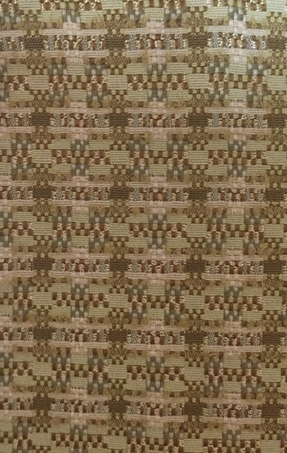 Green Natural Check Upholstery Fabric By The Yard Etsy