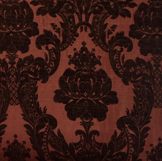 Red Chenille Damask Upholstery Fabric By The Yard Etsy
