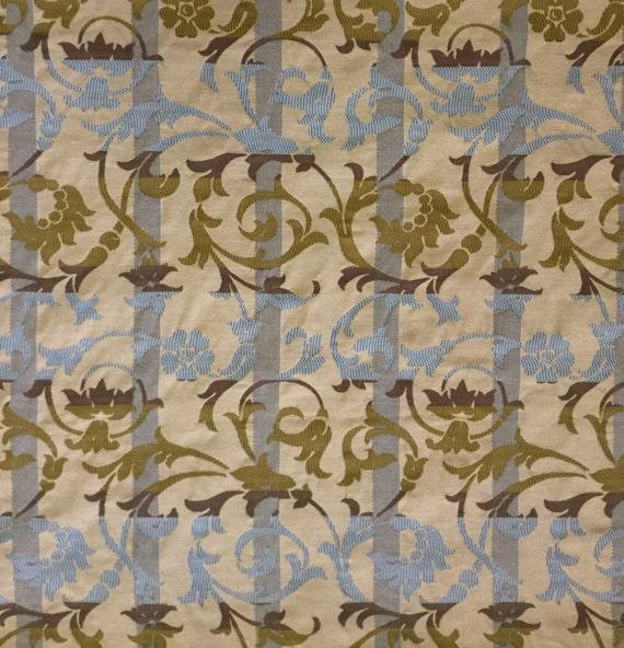 Tone On Tone Aqua Blue Damask Stripe Upholstery Fabric Etsy