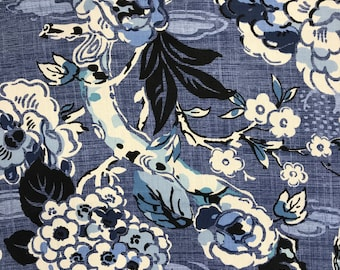 Navy Large Scale Jacobean Floral - Modern Jacobean - Drapery Panels - Upholstery Fabric By The Yard - Shower Curtain - Roman Shades - Pillow