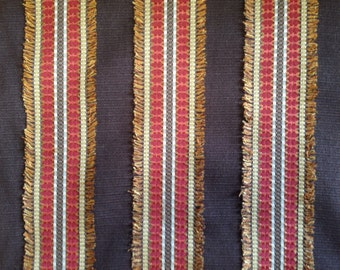 Brown, Red and Gold Eyelash Upholstery Fabric - Upholstery Fabric By The Yard