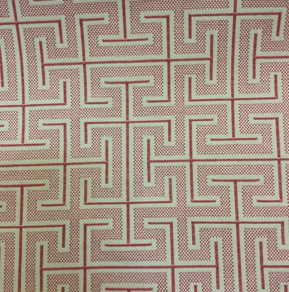 Coral And Gold Greek Key Fabric Geometric Fabric Etsy