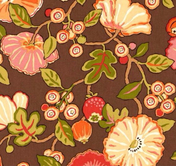 Brown Tangerine And Green Floral Upholstery Fabric Hip Fall Etsy