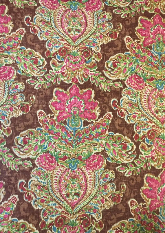Brown Pink Green Floral Upholstery Fabric By The Yard Etsy