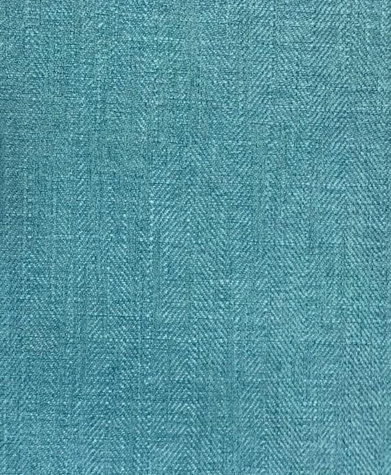 Turquoise Herringbone Upholstery Fabric By The Yard Etsy