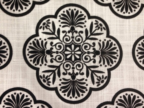 Black And White Linen Medallion Upholstery Fabric Home Decor Etsy