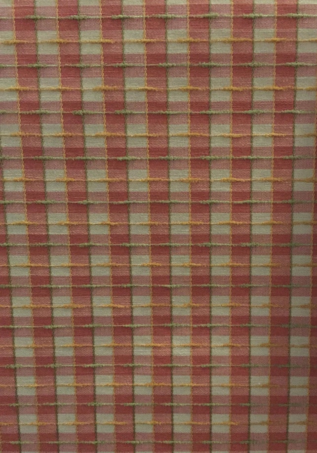 Peachy Plaid Upholstery Fabric By The Yard Etsy