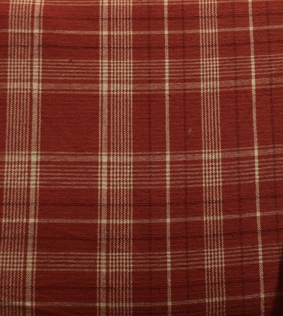 Red And Cream Plaid Upholstery Fabric By The Yard Etsy