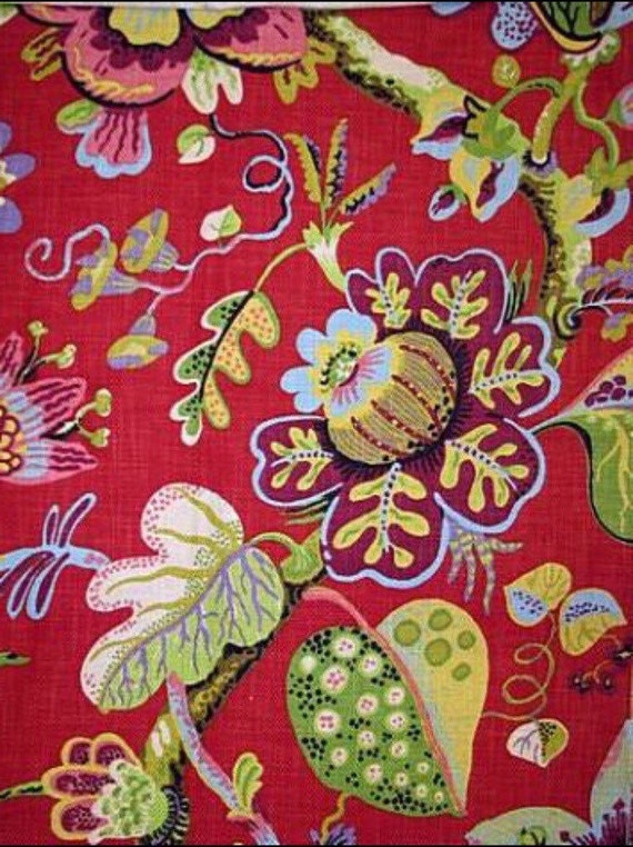 Red Floral Upholstery Fabric Wonderland Ruby P Kaufmann Etsy