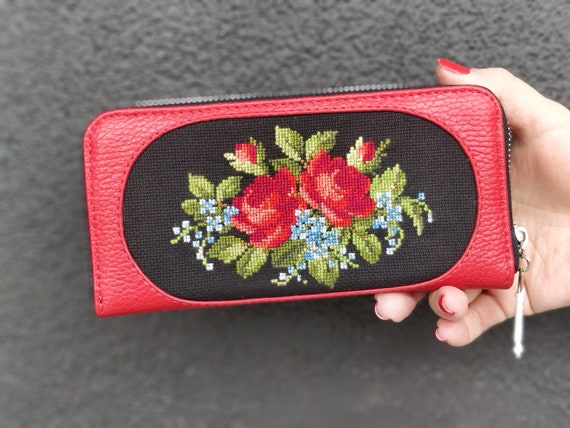 Embroidered and embellished hand stitched wallets
