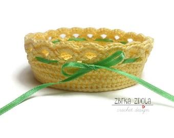 Mini Crochet Basket -  Crochet Pattern (Pattern No. 009) - INSTANT DIGITAL DOWNLOAD, storage solutions, small storage basket, home decor