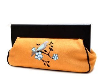 large hand bag original mustard yellow velvet brodepour wedding, party or ceremony