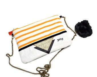 bag retro yellow and ecru striped evening shoulder black and gold glitter