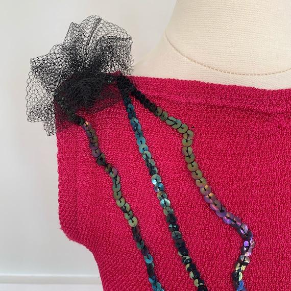 Girl's size 6-7: Dark hot pink leotard with black