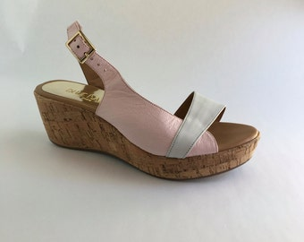 4a24a6e45 Brazilian Leather Cork Wedge Sandals for Women in Pink and White