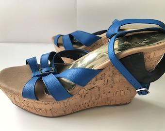 469660e8df64 Brazilian Leather Cork Wedge Sandal for Women in Blue