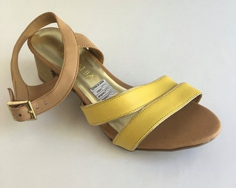 7cbce1c992d0 Brazilian Leather Ankle Strap Sandals for Women in Yellow