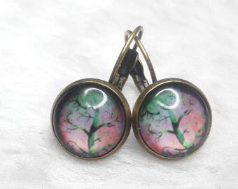Earrings cabochon round Rainbow trees