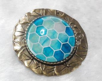 Brooch blue Hexagon cabochon round