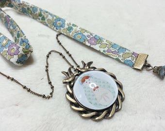Blue Liberty Medallion matryoshka necklace