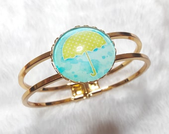 Green and blue umbrella gold Bangle Bracelet