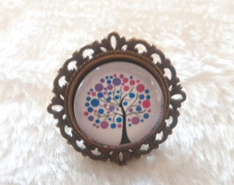 Round bronze tree of life ring