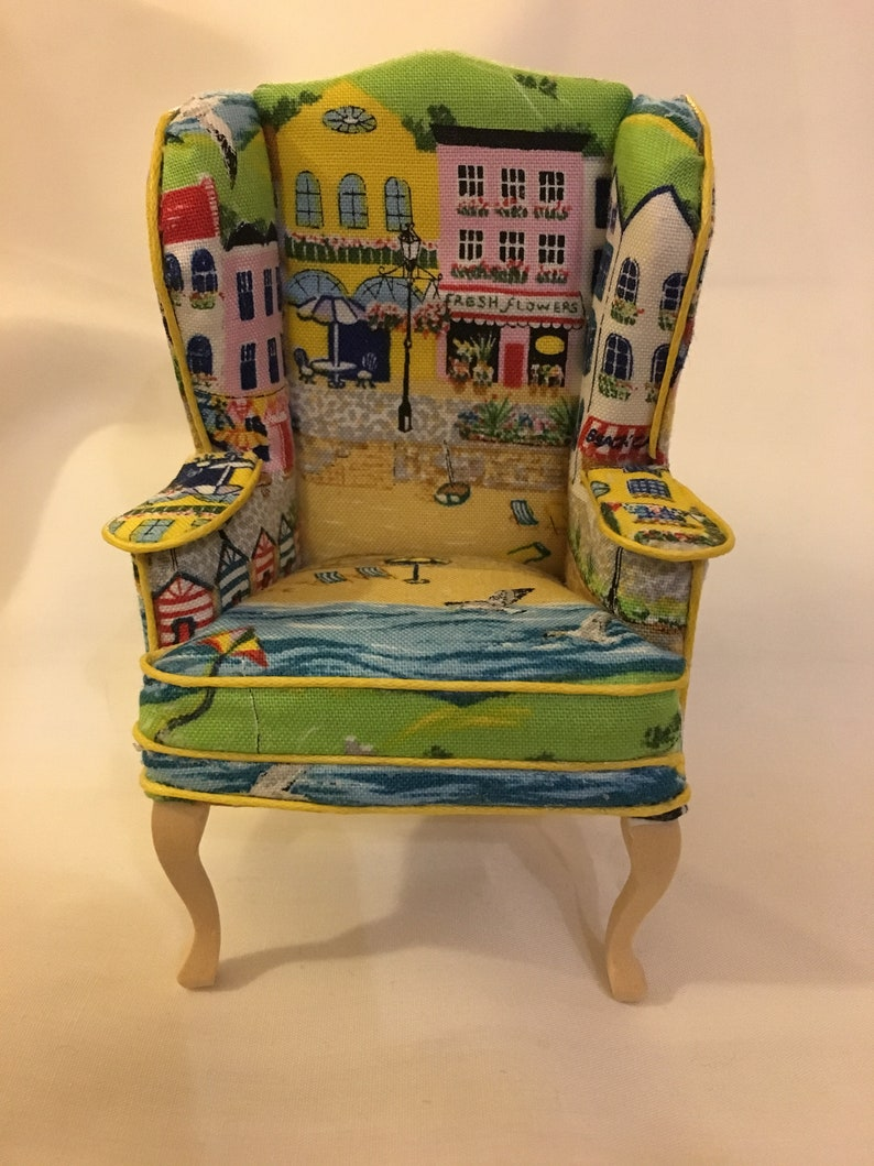 Dolls house 1/12th scale.  High backed winged armchair Seaside image 0