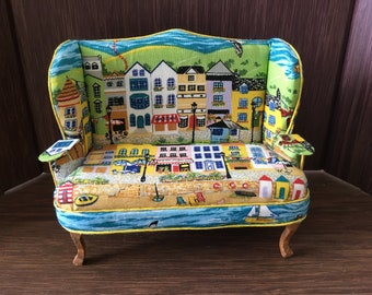 Dolls house 1/12th Sofa settee couch. Handmade.