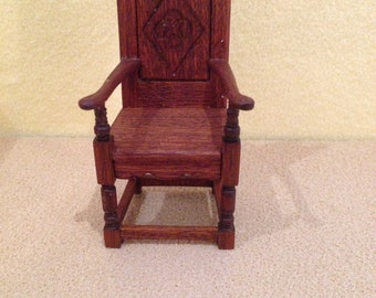 1/12th scale Tudor chair.  Mahogany. Handmade. Dolls house.