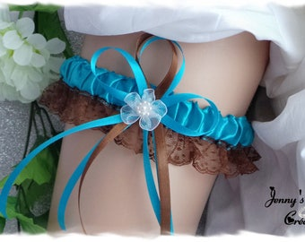 Garter style Brunella, satin and lace, choco-turquoise