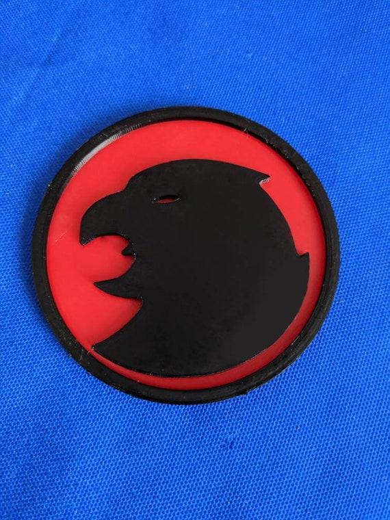 Hawkgirl inspired belt buckle motif/plaque