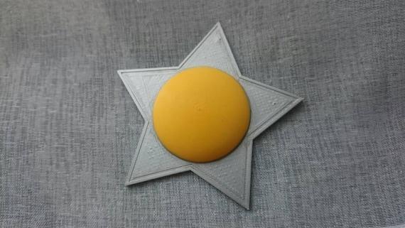 Rosalina inspired star brooch - 3D printed pin back button badge