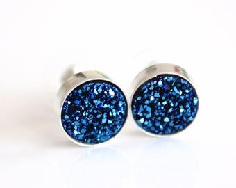 Druzy Earrings Druzy Jewelry Blue Druzy Stud Earrings Bridesmaid Gift Drusy Earrings Bridesmaid Jewelry Sterling Silver Minimalist Earrings