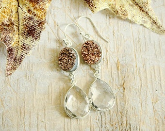 Rose Gold Druzy Earrings Crystal Earrings Gift-for-Woman Unique Earrings for Woman Bridesmaid Proposal Christmas Gift for Wife Dangle