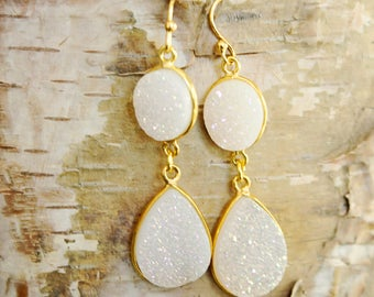 White Double Drop Druzy Earrings Long White Earrings Bridal Drop Earring Genuine Drusy White Druzy White Dangle Earrings Chandelier Earrings